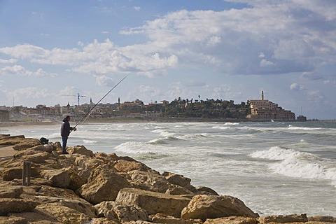 Fisherman fishing on the Tel Aviv shoreline, view toward Jaffa, Israel, Middle East