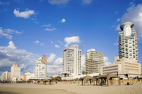 Hotels along the Tel Aviv beach, Israel, Middle East