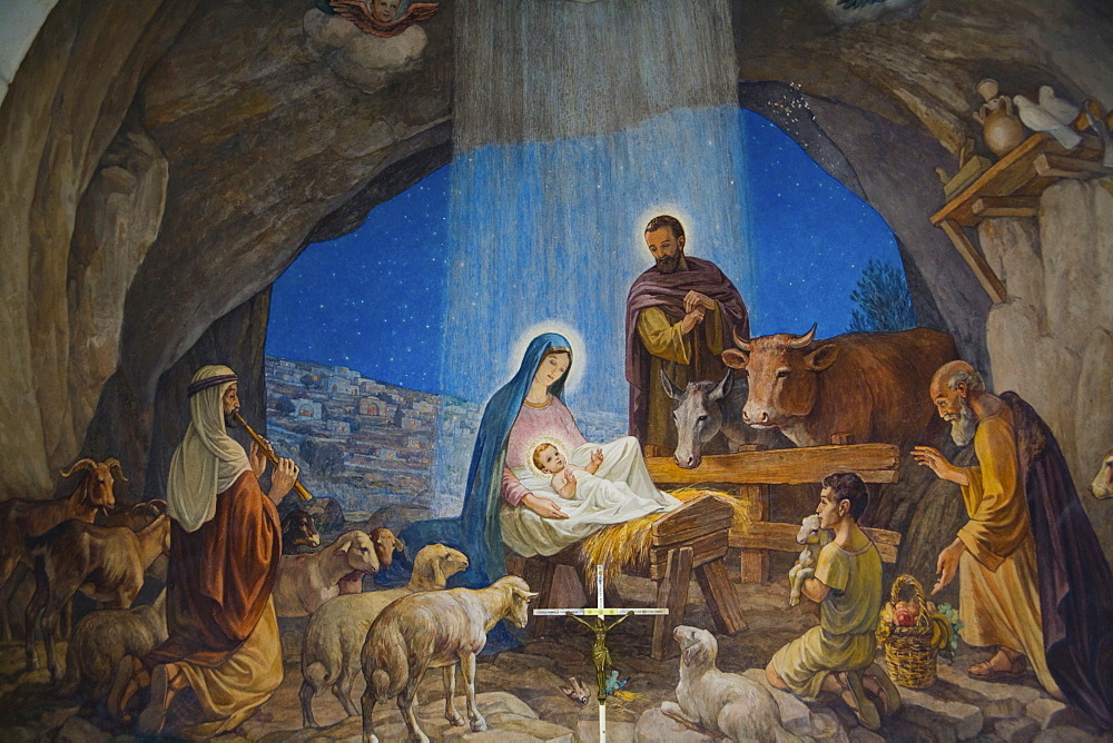 Section of a mural in the Shepherds' Field Church in Bethlehem, West Bank, Palestine, Israel, Middle East - 832-287233