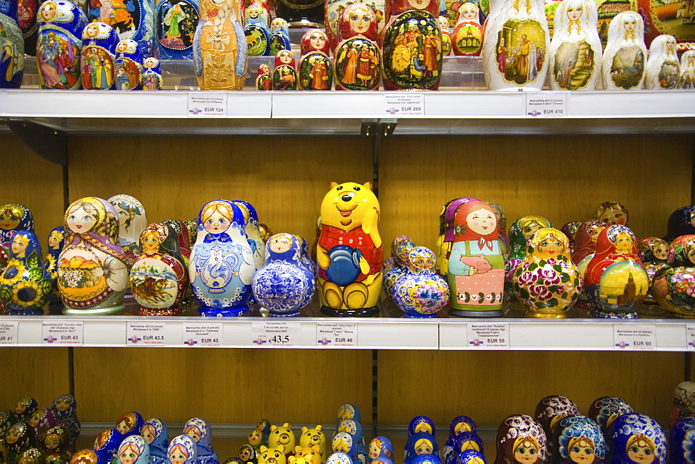 Various types of Matryoshka dolls in a souvenir shop in Moscow, Russia