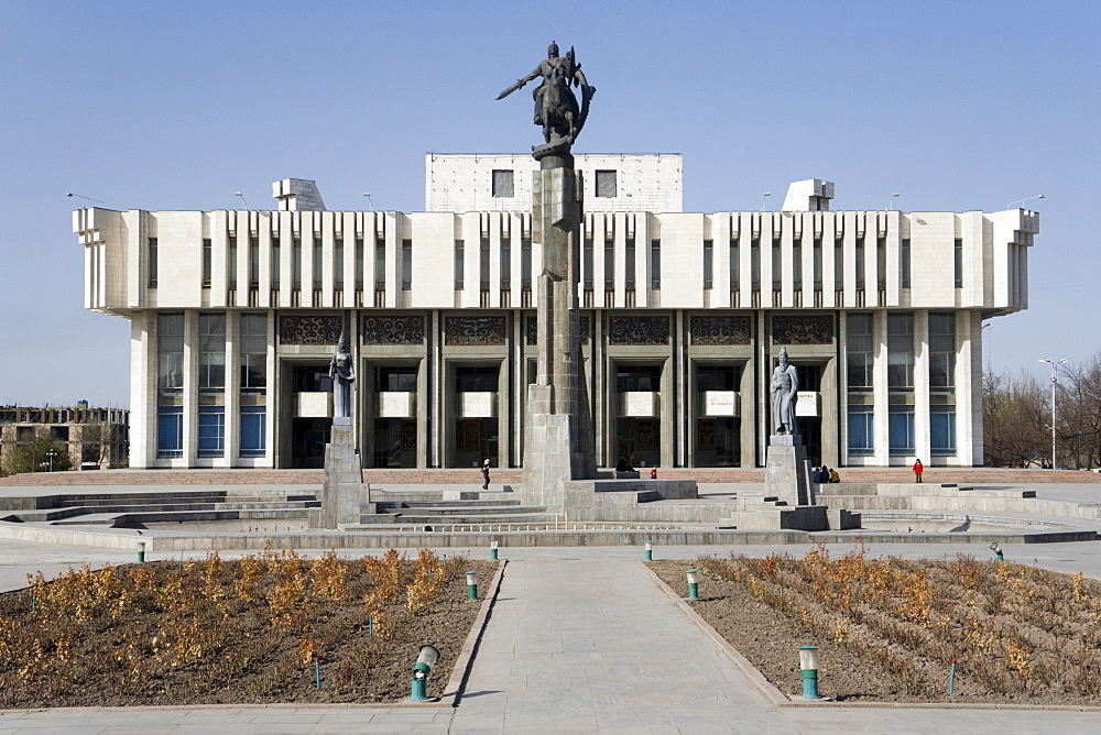 Epic of Manas Statue standing in front of the Philharmonic Hall, Bishkek, Kyrgyzstan