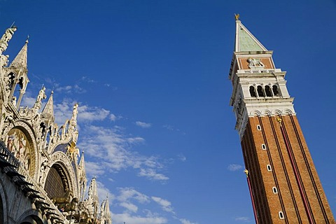 St Mark's Campanile and St Mark's Cathedral in Piazza San Marco Square, Venice, Veneto, Italy, Europe