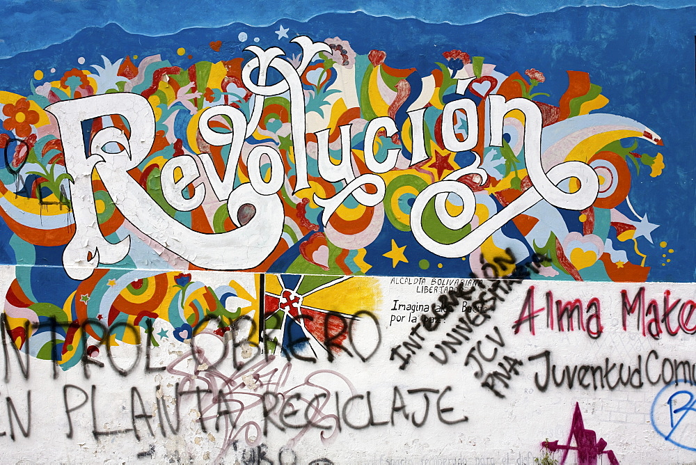 "Graffiti, ""revolucion"" revolution, Merida, Venezuela, South America"