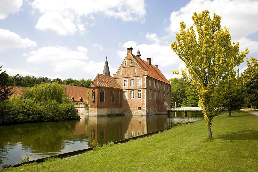 House of Lords, built 1540-1545, Wasserburg Huelshoff, the poet Annette von Huelshoff was born here, Havixbeck, Muensterland, North Rhine-Westphalia, Germany, Europe