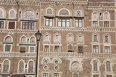 Houses made of brick clay, facades, ornaments, historic centre of Sanëaí, Unesco World Heritage Site, Yemen, Middle East