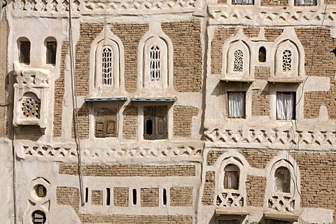 House made of brick clay, facade, ornaments, historic centre of Sanëaí, Unesco World Heritage Site, Yemen, Middle East