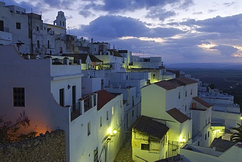 The white houses of Vejer de la Frontera before sunrise, Barbate, Andalusia, Spain, Europe