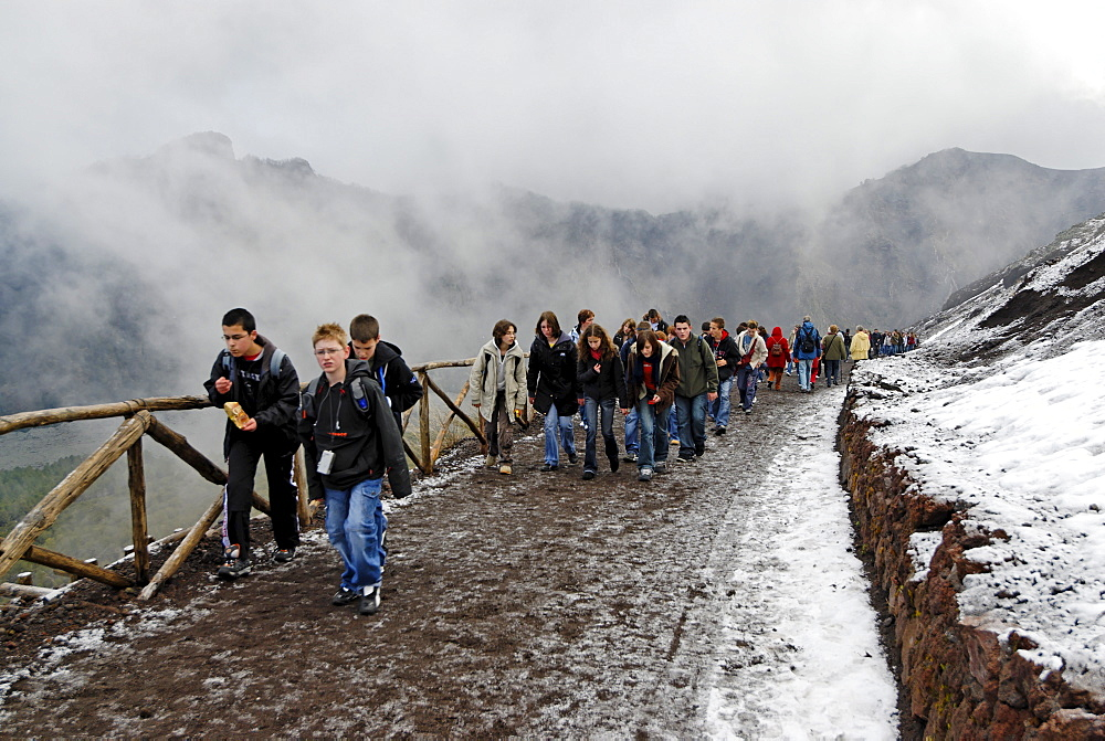 Path to the summit of Mt. Vesuvius, Campania, Italy