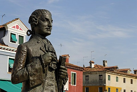 Monument, Baldassare Galuppi detto Buranello, composer, located on Piazza Galuppi on Burano, an island in the Venetian Lagoon, Italy, Europe