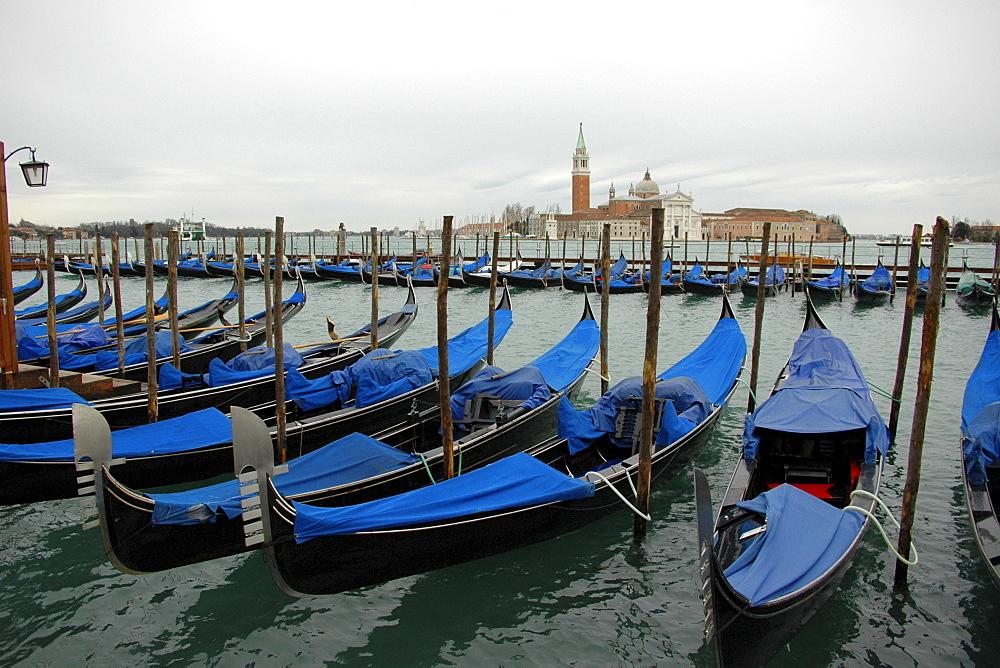 Gondolas at St Mark's Square, Venice, Venetia, Italy, Europe