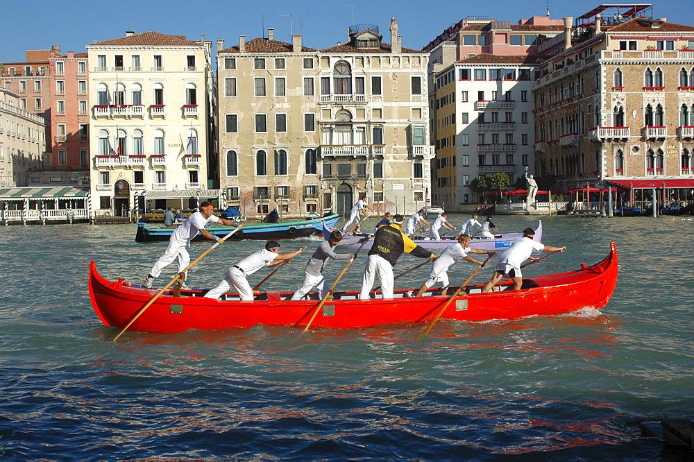 Departing for a gondola race, Venice, Veneto, Italy, Europe - 832-288883