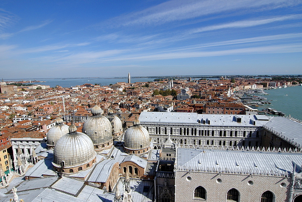 View from St Mark's Campanile, Venice, Veneto, Italy, Europe