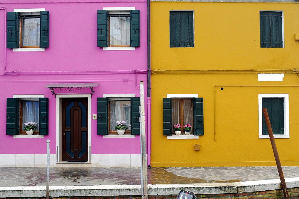 Building facades, Burano Island, Venice, Veneto, Italy, Europe