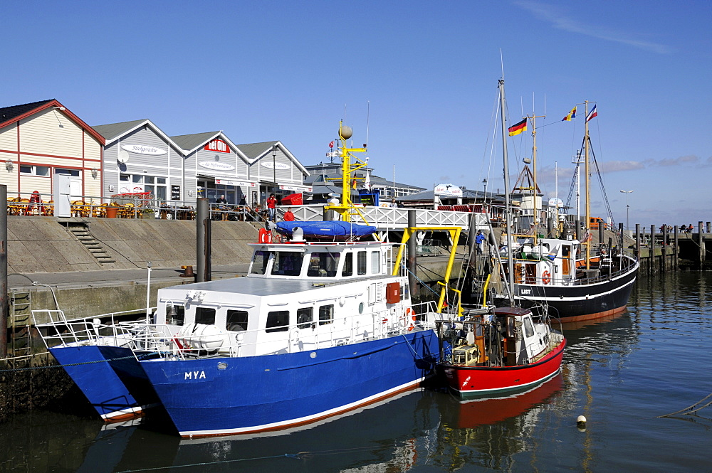 Fishing boats tied up at List harbour on the North Frisian island of Sylt, Schleswig-Holstein, Germany