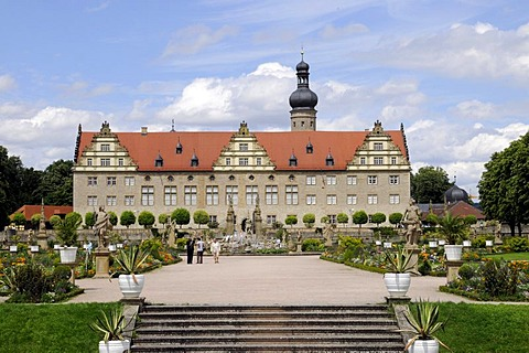 Castle with castle gardens, Renaissance, Hohenlohe, Main Tauber Kreis, Weikersheim, Baden-Wuerttemberg, Germany, Europe