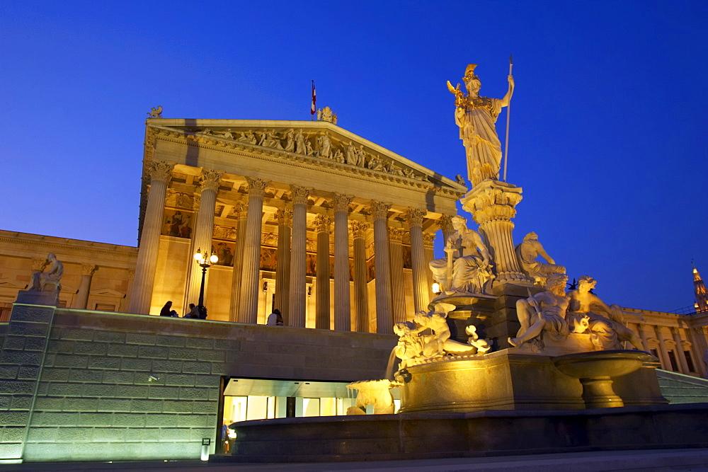 Parliament Building at night, Vienna, Austria, Europe