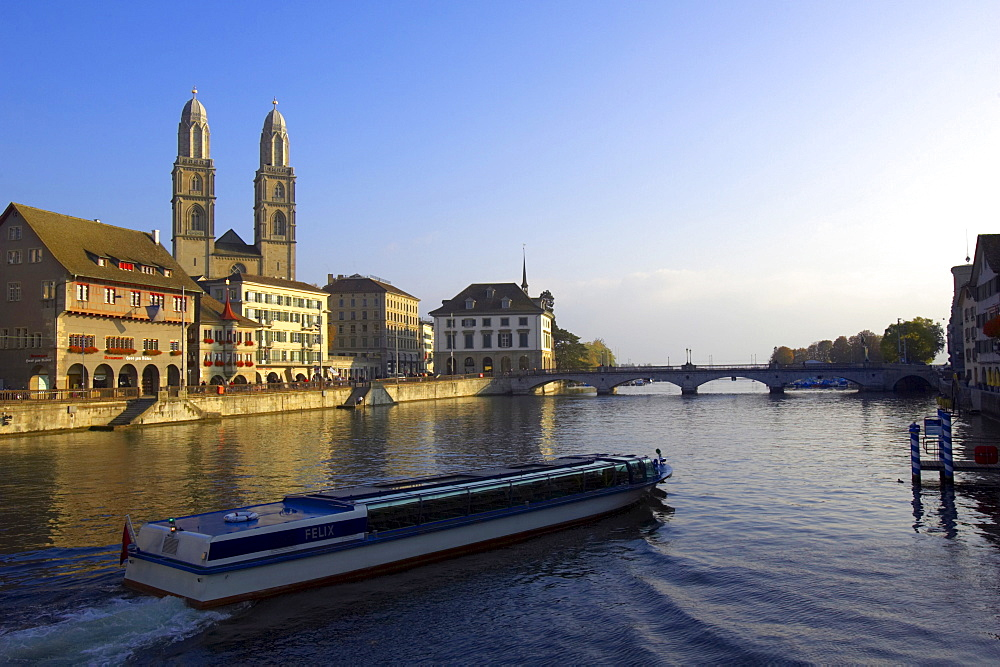 View Of Zurich showing Grossmuenster Church, Zurich, Switzerland, Europe