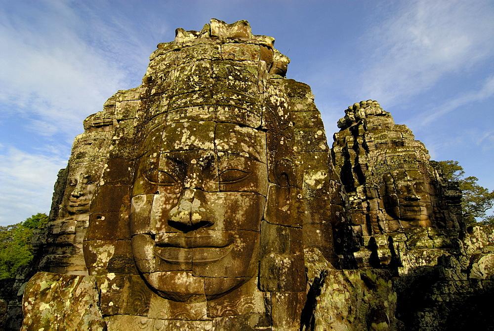 Serene stone face, Bayon Temple, Angkor, Cambodia, Southeast Asia