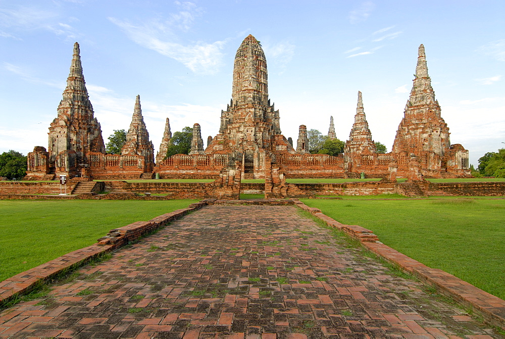 Towers rising above a temple, Wat Chai Wattanaram Temple, Ayutthaya, Thailand, Asia