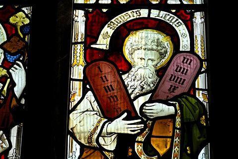 Moses in a church window, St. Andrew's Cathedral, Gothic cathedral, Wells, Mendip, Somerset, England, Great Britain, Europe