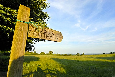 Signpost to Glastonbury Tor, Ley lines, Legend of King Arthur, National Trust, Glastonbury, Mendip, Somerset, England, Great Britain, Europe