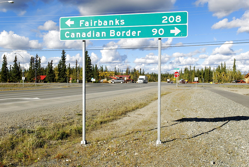 Traffic sign, Fairbanks, Canadian Border, Alaska Highway, Alaska, USA