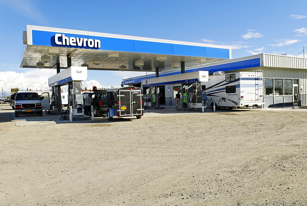 American Chevron gas station in Tok, Alaska Highway, Alaska, USA