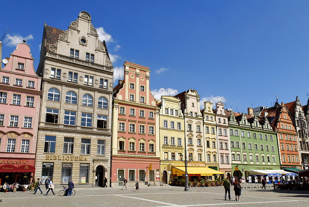 Market square, rynek of Wroclaw, Silesia, Poland, Europe