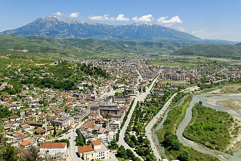 View over Berat, UNESCO World Heritage Site, and the Tomor Range, Albania, Europe