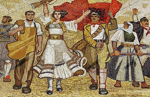 Socialist propaganda and hero mosaic on the National Museum, Skanderbeg Platz, Tirana, Albanien, Europa