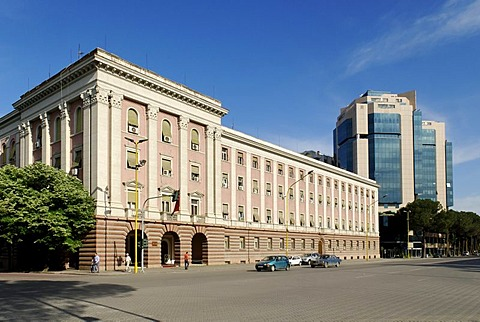Old and new buildings, Deshmoret e Kombit Street, Tirana, Albania, the Balkans, Europe