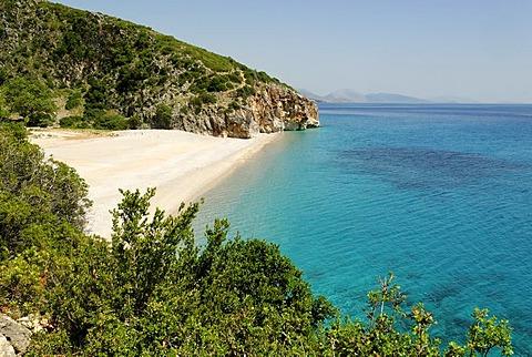 Ionian Sea, coast near Dhermi, Albanian Riviera, Albania, Balkan Range, Europe
