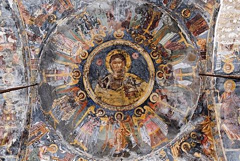 Medieval frescoes on the ceiling of St. Mary's Church, Kisha e Shen Marise, Voskopoje, Albania, Balkan Range, Europe