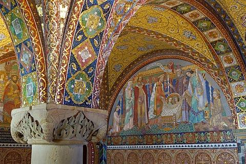 UNESCO World Heritage Site Wartburg Germany, Thuringia, bower mosaik of engagement Elisabeth and Ludwig