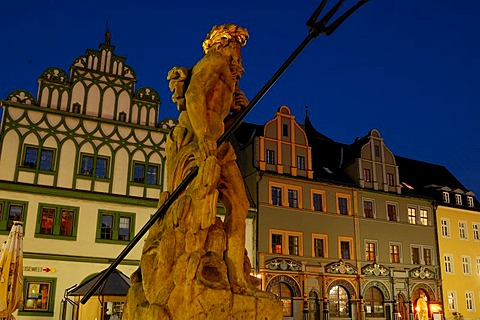UNESCO World Heritage Site Figure of Fountain Neptun Marketplace at Night Weimar, Thuringia, Germany