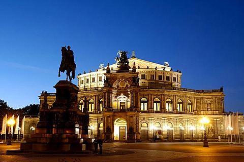 Theatre square Semper opera Kind Johann monument Dresden Saxony Germany