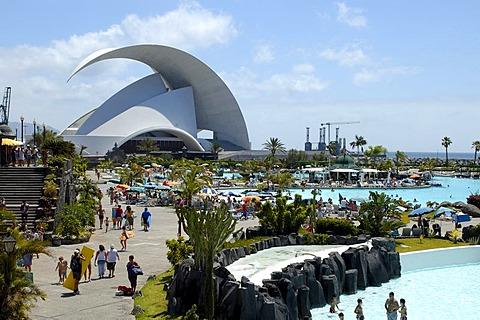 Parque Maritimo by Cesar Manrique and Auditorio, Santa Cruz, Tenerife, Canary Islands, Spain