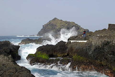 Rocky coast and spray, Garachico, Tenerife, Canary Islands, Spain
