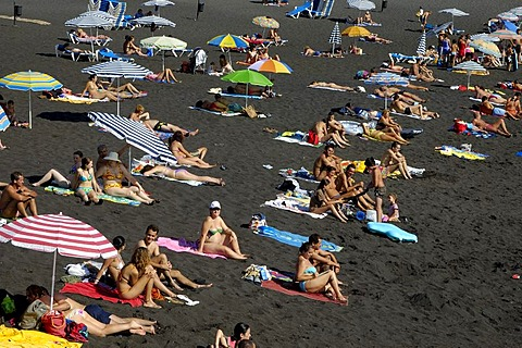 Black sandy beach, Puerto de Santiago, Tenerife, Canary Islands, Spain - 832-292592