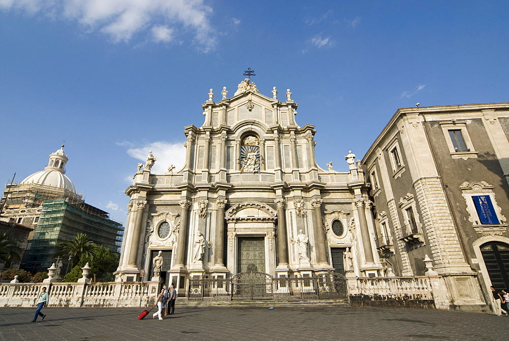 Piazza del Duomo and western facade of the cathedral in Catania, Sicily, Italy