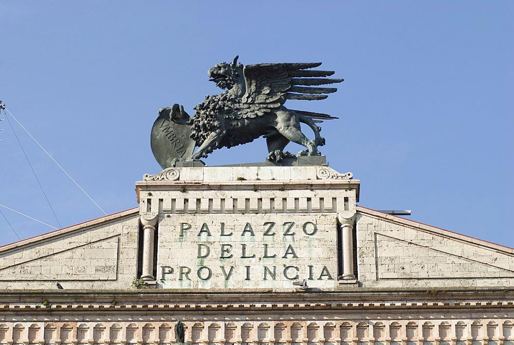 Sculpture of an Umbrian lion, Gubbio, Umbria, Italy