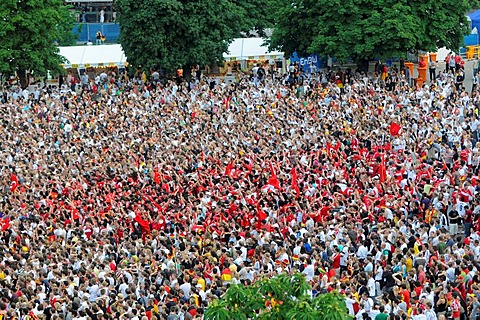 The 2008 UEFA European Football Championship, Public Viewing, Schlossplatz Square, Turkish football fans cheering because of the first goal, Stuttgart, Baden-Wuerttemberg, Germany, Europe