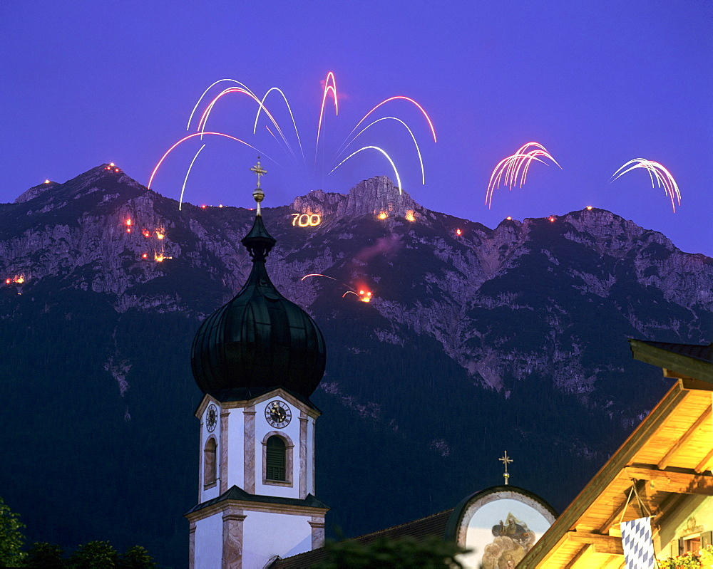 700th anniversary celebrations, fireworks, town of Kruen, Upper Bavaria, Bavaria, Germany, Europe