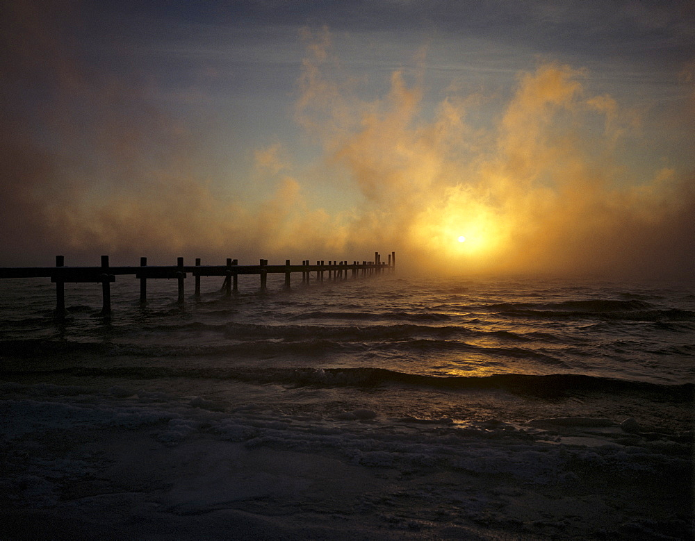Sunset, waft of mist, Lake Chiemsee, Bavaria, Germany