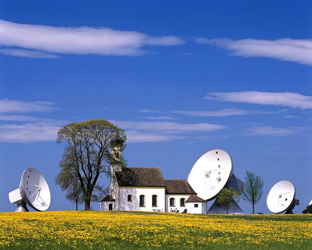 Antennas of the Satellite Earth Station Raisting, St Johann Chapel, Upper Bavaria, Bavaria, Germany
