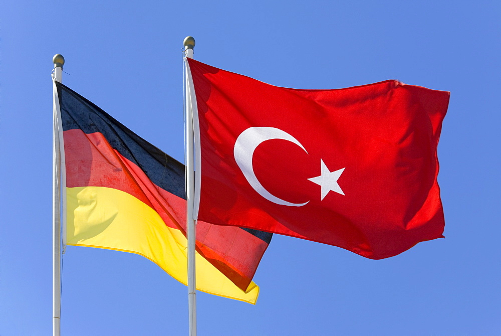 A Turkish and a German flag