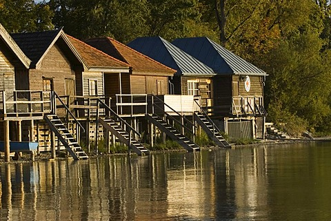 "Boathouses at ""Ammersee"" lake, Bavaria, Germany"