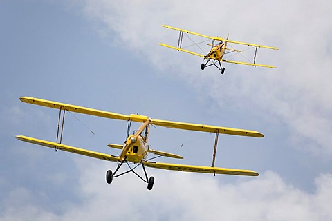 Two biplanes at a stunt flying show - model Kiebitz D-EDEM Kapfenberg, Styria, Austria