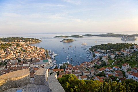 Look of the fortress Spanjola on the harbour of Hvar, Island Hvar, Dalmatia, Croatia