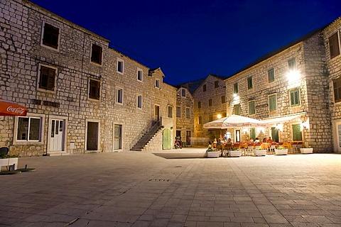 House facades and cafes, Stari Grad, Island Hvar, Dalmatia, Croatia